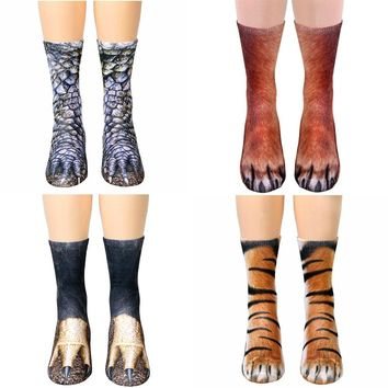 Animal Paw Feet Socks Funny Crazy Cool Novelty Cute Fun Funky Colorful Collection - Tiger Fox Eagle and more