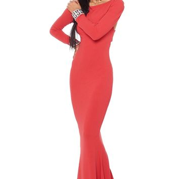 Xtaren X Back Long Dress - Red from Xtaren at ShopRoxx.com