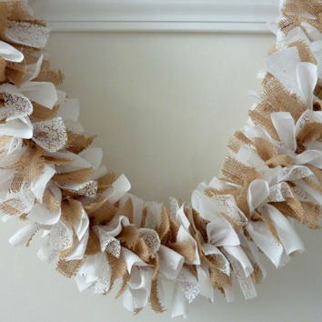 Rag Garland Burlap with White Eyelet Lace Fabric Wedding Bridal Shower Engagement  6 Feet