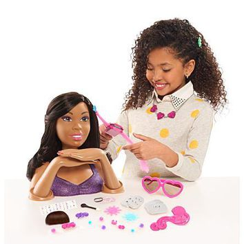 African American, Black Hair Styling and Color, Apply Makeup, and Color Nails Head Doll