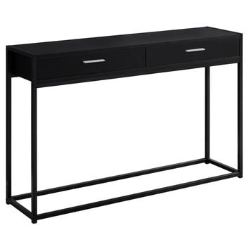 "Accent Table - 48""L / Black / Black Metal Hall Console"