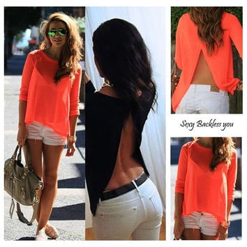 New Ladies Womens Sexy Summer Loose Casual Chiffon Backless T Shirt Blouse Tops = 1956874116