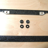 Black Color 7Row Bling Rhinestone Standard License Plate Frame With 2 Caps