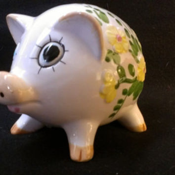 Ceramic Piggy Bank with Yellow Flowers Made in Japan (382)