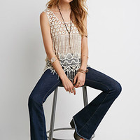 Embroidered Mesh-Paneled Top