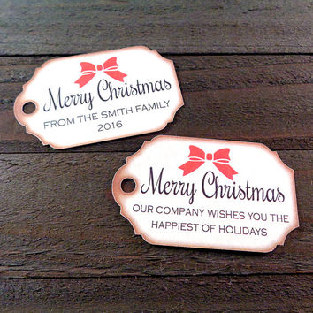 Personalized Merry Christmas Gift Tags Handmade Vintage Inspired Holiday Custom Gift Tags - Set of 8