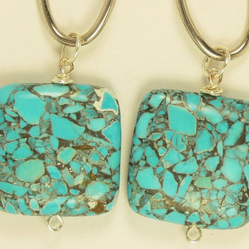 Turquoise Stone Oval Earrings, Silver Oval Earrings, Southwestern Earrings