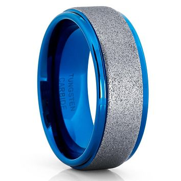 Blue Tungsten Wedding Band - 8mm - Gunmetal Tungsten Ring - Blue Ring