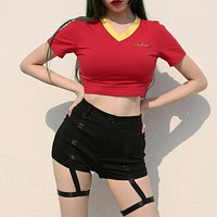 Women Casual Fashion Multicolor V-Neck Short Sleeve T-shirt Bodycon Crop Tops