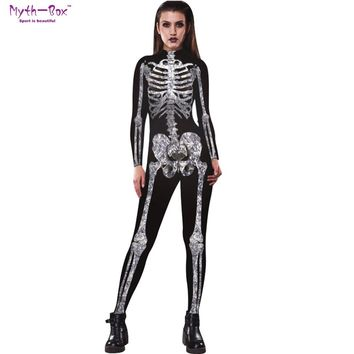 Women Role Play Jumpsuits Yoga Set Long Sleeves Cosplay Bar Suit Halloween Clothes Crystal Skull Print Fancy Dress Party Costume