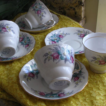 Vintage Coldclough China #6632, Teacup and Saucer, Tea Set, 8pc, Pretty  Kitchen Shower Gift, Great Cottage Decor, Shabby Chic