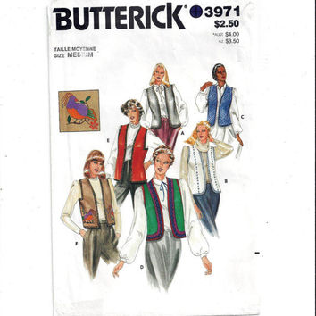 Butterick 3971 Pattern for Misses' Vest in 4 Styles & Transfers, Size Medium 12-14, From 1980s, Vintage Pattern, Home Sewing Pattern