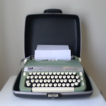Vintage Smith Corona Super Sterling Typewriter with Original Carrying Case - portable, gift for him, 1960s