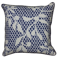 "Embroidered Blue Pillow Cover (22"" x 22"")"