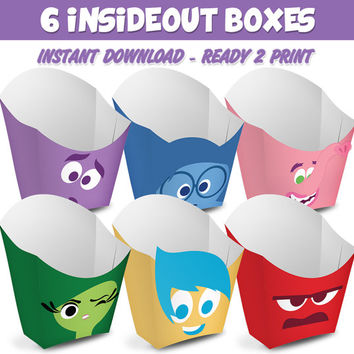 6 Popcorn Box Inside Out - Ready to print - Instant Download