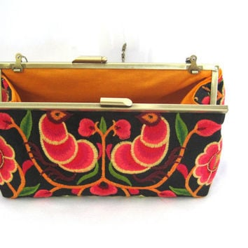 Art Nouveau  Embroidered Clutch Purse  on Antique Gold Frame - Reds, Oranges,Yellows and Green