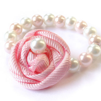 Newborn Rosette Bracelet, Baby Glass Bead Pearl Beads with Fabric Flower for Baby Girl to 5 M, photo prop, baby shower gift, Pale Pink White