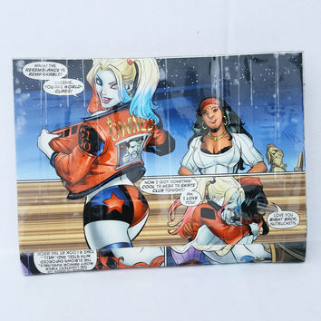 Small Clutch Handbag, Upcycled Harley Quinn Comic Book Purse, Cool Women's Wallet, Geek Gift