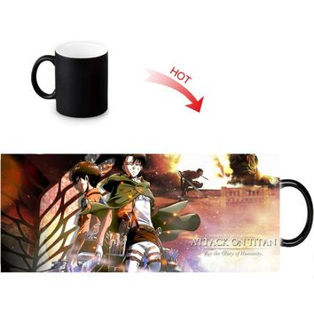 Cool Attack on Titan  Hot Reactive Sensitive Morphing Mugs Black White Changing Color Ceramic Mug Anime Porcelain Tea Coffee Cup 12oz AT_90_11