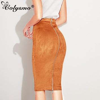 Colysmo Autumn Suede Midi Skirt High Waist Faux Leather Skirt Winter Skirts Womens Two-way Zipper Through Pencil Skirt Saia Midi