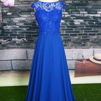 O-Neck Prom Dress,Royal Blue Prom Dress,Long Evening Dresses