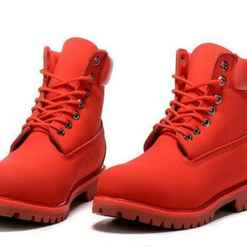 Timberland Rhubarb Boots 10061 2018 Red For Women Men Shoes Waterproof Martin Boots