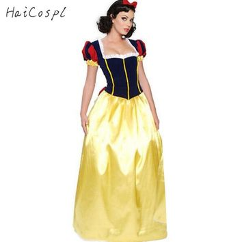 Plus Size Adult Snow White Costume Purim Carnival Halloween Costumes for Women Fairy Tale Princess Cosplay Female Long Dress