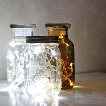 Amber apothecary jar with fairy lights battery operated outdoor indoor light