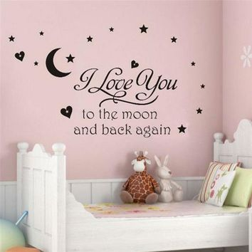 i love you to the moon and back again quotes wall decals decorative stickers girls room removable vinyl posters home art 8116.
