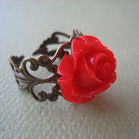 Petite Red Rose Flower Ring - Adjustable Antique Brass Ring - Free US Shipping - Jewelry by ZARDENIA