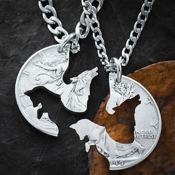 Wolf and Fox Best Friends Jewelry, BFF Gifts, Foxy Wolfy Coin Necklaces, by Namecoins