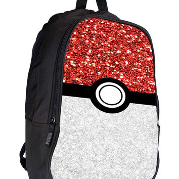 Pokemon Pokeball Sparkle d25db04a-3fb6-4326-a7ee-1eed9014ff24 for Backpack / Custom Bag / School Bag / Children Bag / Custom School Bag *02*
