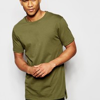 River Island T-Shirt With Dropped Hem In Khaki