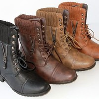 Alice 4  women Low Heel Military ankle combat Boots knit collar British Style