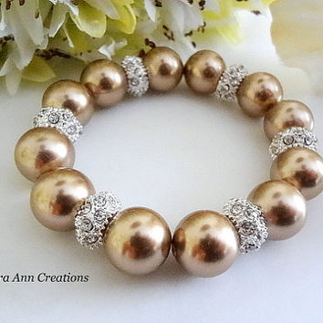 Swarovski Bronze Pearl Bracelet Crystal Fall Dark Champagne Pearl Wedding Bridal Jewelry Bridesmaid Bracelet Mother of Bride Groom Gift Set