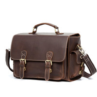 Luxury  Vintage  Crazy Horse Leather Cowhide Men Travel Handbag Shoulder Messenger Camera Video Bag Bags For Man handbag