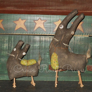 Easter Rabbits Set of 2 Primitive Bare Bunny dolls