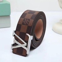 PEAP7HX GUCCI Woman Fashion Smooth Buckle Belt Leather Belt