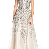 Adrianna Papell V-Neck Organza Gown | Nordstrom