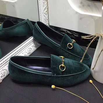 GUCCI Old Skool Women Fashion Velvet Flats Shoes