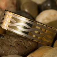 Tungsten Carbide Band 9mm Pipe Gold Infinity Design Ring