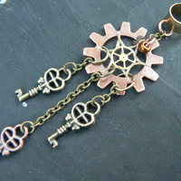 steampunk dreamcatcher keys ear cuff  gears in steampunk goth fantasy