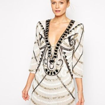 Forever Unique Bella Heavily Embellished Tunic Dress