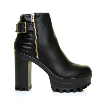 ALICE Black PU Leather Cleated Sole Platform Ankle Boots