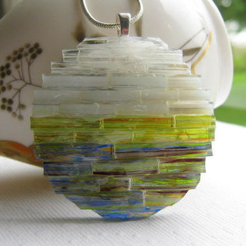 Art Glass Pendant, Winter Sunset Pendant, Mosaic Art Pendant, Handmade Glass Art, Woven Glass Jewelry