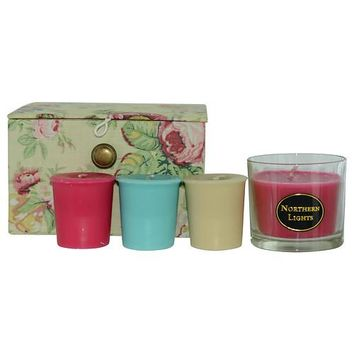 CANDLE GIFT BOX HANNAH by Candle Gift Box Hannah FLORAL PRINT WITH BUTTERCREAM BACKGROUND LINED WITH DELICATE PINK STRIPES BOX SET CONTAINS ONE ROSE HIP & LYCHEE SMALL GLASS VASE & THREE VOTIVES FEATURING ROSE HIP & LYCHEE AND COTTON BLOSSOM AND WATERCRES