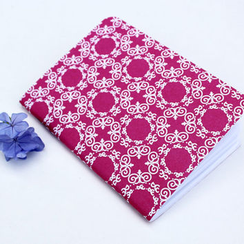 Pink Fuscia White Ornamental Traveler's Notebook Journal Stationary Planner Insert Blank Pages Sketchbook
