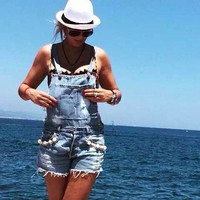 Pearls Beading Denim Overalls 2016 Summer New Fashion Ripped Jean Womens Romper 100% Cotton One Piece Jumpsuit Short