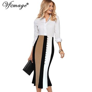 Vfemage Women Elegant Contrast High Waist Front Slit Work Business Party Cocktail Fishtail Mermaid Flared Pencil Midi Skirt 8056