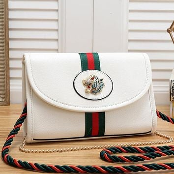 Gucci Women Leather Metal Chain Shoulder Bag Satchel Crossbody
